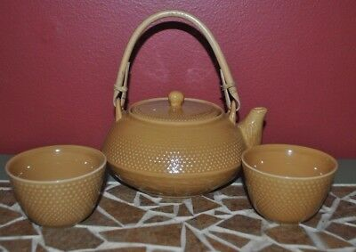 Vintage Crabtree & Evelyn London tea pot mustard yellow with tea strainer & cups