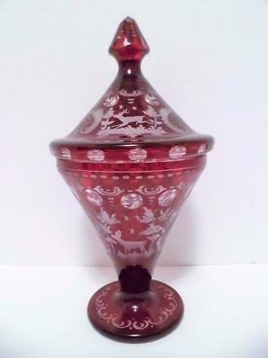 Antique Ruby Red Cut To Clear BOHEMIAN GLASS  Deer  Acid Etched: Czechoslovokia