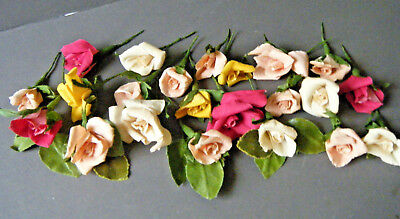 Antique Vtg lot 22 millinery rose flowers hat trims French hand done from paper