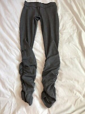 Women's Gray Under Armour Heat Gear Ruched Leggings Stretch Pants Size Medium