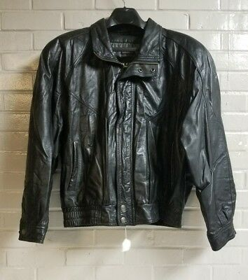 men's wilsons thinsulate thetmal insulation black leather and polyester jacket