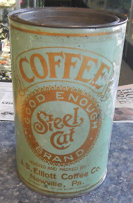 J S Elliott Good Enough Coffee Tin Can Newville PA