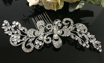 New arrival wedding bridal crystal rhinestone silver tone hair comb ha3205
