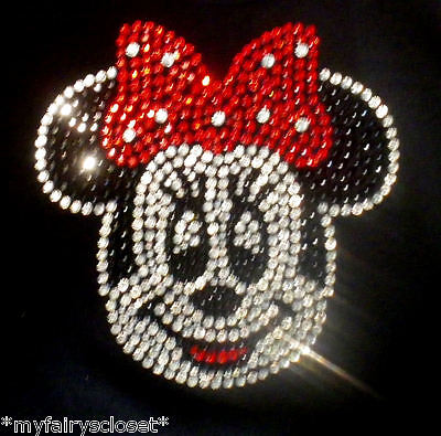"6"" red Minnie Mouse face iron on rhinestone transfer applique bling Disney patch"