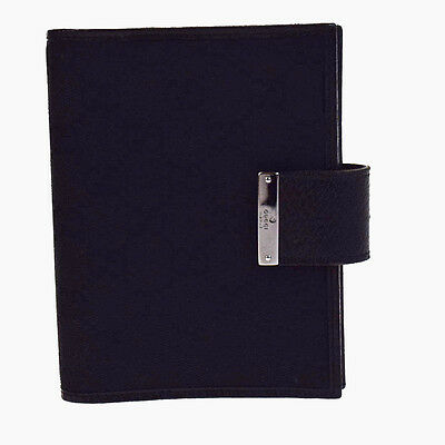 Authentic GUCCI GG Pattern Agenda Cover Day Planner Canvas Leather Black 09V2333