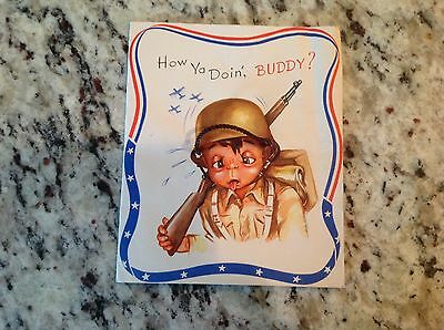 WWII Military Greeting Card Army mail home front soldier How You Doin' Buddy