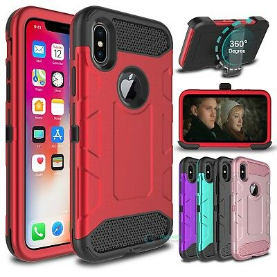 For iPhone X Shockproof Hybrid Heavy Duty Kickstand Case Cover with Belt Clip