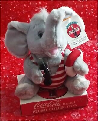 """Coca-Cola 10"""" Elephant in Striped Swimsuit w/ Tags Plush Collection Play by Play"""