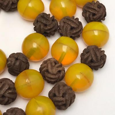 Vtg Art Deco Chinese Yellow Peking Glass Carved Peach pit bead beaded Necklace