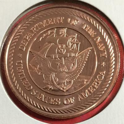 US Department of the Navy! US .999 FINE Copper Round Uncirculated!