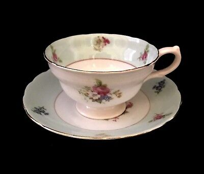 """Grosvenor Footed Tea Cup and Saucer Vintage Antique Bone China England """"Bouquet"""""""