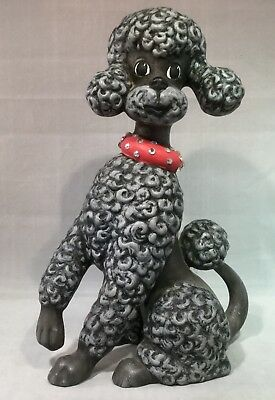 "VINTAGE MID-CENTURY CERAMIC BLACK POODLE-DOG-FIGURINE 11"" Tall"