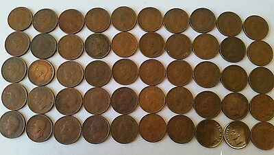 King george VI Penny roll 50 coins mixed dates
