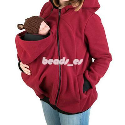 Baby Mummy Baby Carrier Jacket Hoodie Jumper Kangaroo Maternity Coats S-4XL New