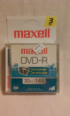 NEW Maxell DVD-R Camcorder Discs-3 Pack-30 Minutes Each