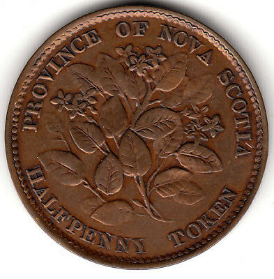 Canada Colonial token Breton 876  NS-5A1   1856  Half Penny D.P. 1 in date
