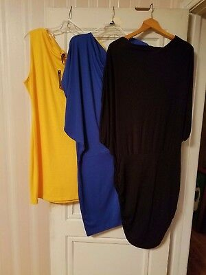 Lot Of 3 Off The Shoulder Party Club Dresses Yellow Royal Blue &black Size 3X