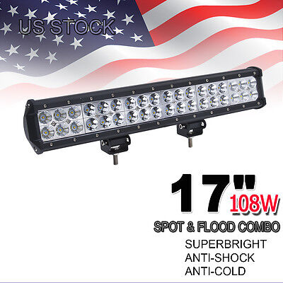 "18"" 108W Cree Led Light Bar Flood Spot Combo Work Light 4WD OffRoad Driving Lamp"