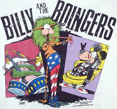 VINTAGE 1987 BILLY & THE BOINGERS T-SHIRT Size 2XL Comic Strip RARE Two Sided