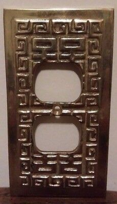 Vintage Brass Geometric Duplex Outlet cover/plate.