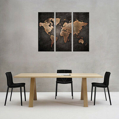 3 Panel Home Modern World Map Abstract Canvas Picture Print Wall Art House Decor
