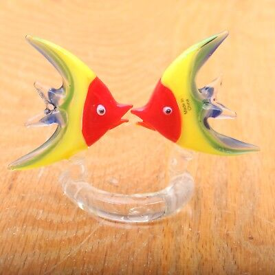 Art Glass Fish Figurine Kissing Angelfish