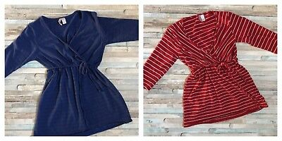 Lot Of 2- Maternity Nursing Size Small Red White, Blue Stripe Faux Wrap Shirts