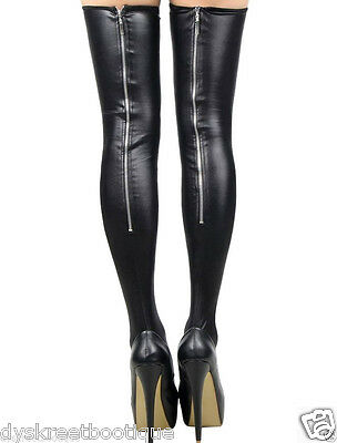 Sexy Slutty Gothic MILF Stocking Lingerie Faux Leather Zipper Punk Thigh Highs