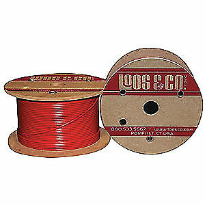 LOOS 304 Stainless Steel Cable,50 ft.,Red Nylon,1/8 in.,352 lb., SC12579M1NR