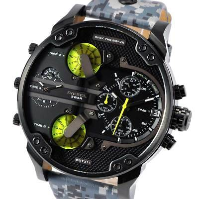 New DIESEL DZ7311 Mens Watch Mr.Daddy2.0 Black Camo Chronograph Leather DZ7311