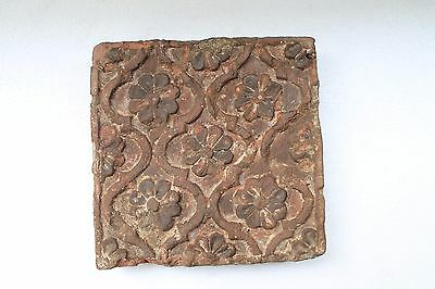 Old Beautiful Floral Design Engraved Islamic Terracotta Hand Backed Brick NH3251