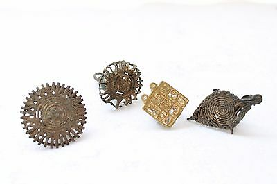 4 PCs Antique Hand Crafted Small Bronze Fob Seal Ink Dye Mold Stamp Seal NH2863