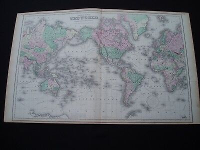 1855 Colton Atlas Map World Rare Large Size 162 Yr Old Antique Genuine