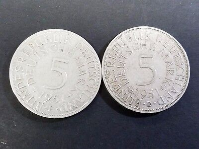 Lot Of 2 Germany 5 Deutsche Mark Silver Coins  #f2A-5