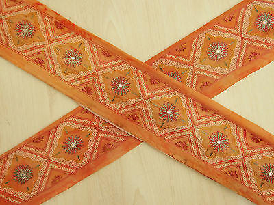 Vintage Indian Sari Border Embroidered Trim Sewing 1YD Orange Sarong Ribbon Lace