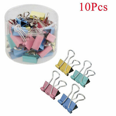Nice 10Pcs Binder Clip 19mm Metal Classic Office Stationery Paper Documents Clip