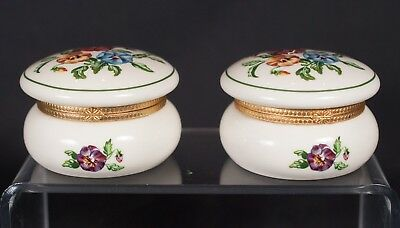 Partylite Pansy Hinged Box Lot of 2