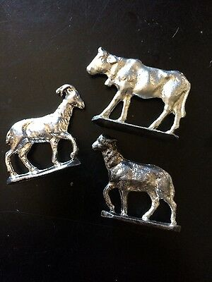 Metzke Pewter Animals Use With Smaller Nativity Cow Goat Lamb/sheep