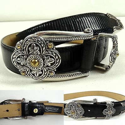 New BRIGHTON Belt Leather Black Reptile M30 Silver Gold Tone Hook Buckle $43