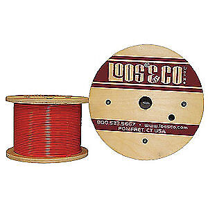 LOOS 304 Stainless Steel Cable,100 ft.,Red Vinyl,1/16 in.,96 lb., SC06377M2VR