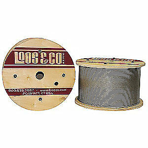 LOOS 304 Stainless Steel Cable,500 ft.,Vinyl,3/32 in.,184 lb., SC09477M1V