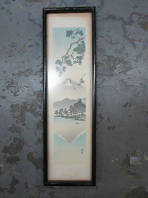 Antique Framed Japanese Watercolour Painting Boats Mt Fuji Pine Trees Signed