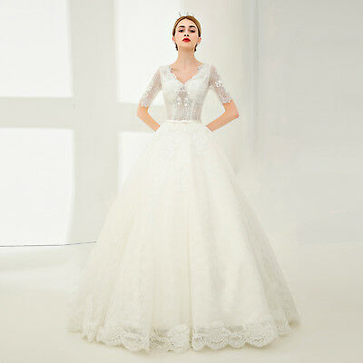 Lace Bridal Gown Ball Gown Wedding Dress Custom Size 2 4 6 8 10 12 14 16