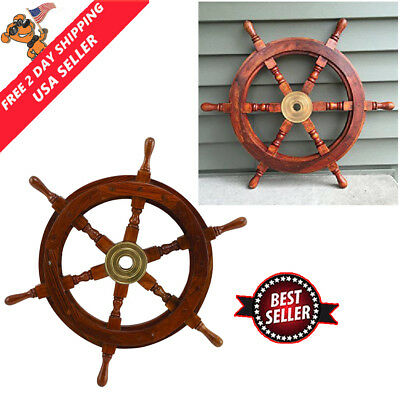 """18"""" Pirate Ship Boat Steering Wheel Pirate Vintage Decor Wood Wall Decor Wooden"""