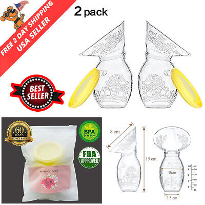 2 Pk Haakaa Silicone Breast Pump Stopper BPA PVC and Phthalate free Flower Shape