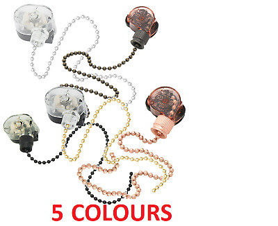 5 COLOUR Ceiling Fan Lamp Wall Light Retro Pull Chain Cord Switch 3A 250V 6A125V