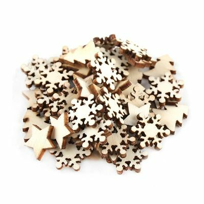 50 Pcs Wooden Carve Chips Christmas Trees Hanging Embellishments DIY House Decor
