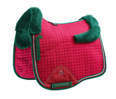PEI Merino Wool European Saddle Pad - Dressage - Fuchsia with Green Wool