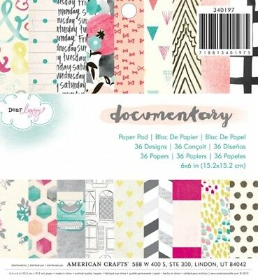 "American Crafts Papierblock 6"" x 6"" DOCUMENTARY (36 Blatt)"