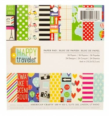 "American Crafts Papierblock 6"" x 6"" Happy Traveler  (36 Blatt)"